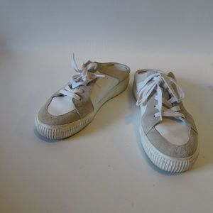 VINCE WHITE GREY KESS LEATHER SNEAKER MULES 6.5